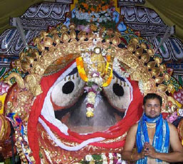 The smiling face of Lord Jagannatha, in Puri, Odisha, India