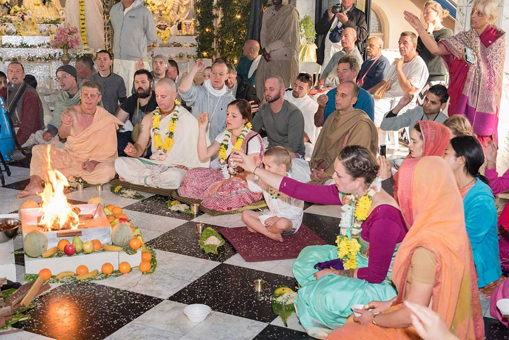 Initiation ceremony at New Govardhana at the Radhastami festival.