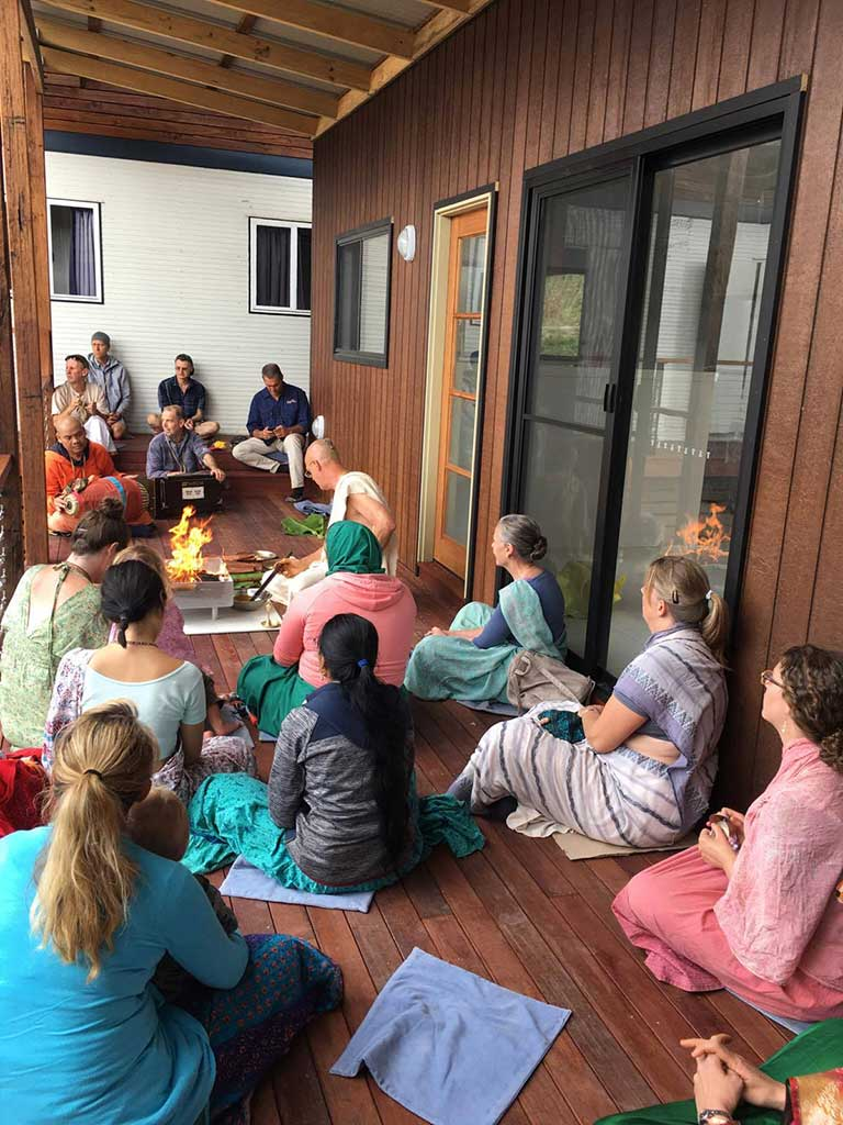 Recent fire yajna at the new brahmacharini ashrama.