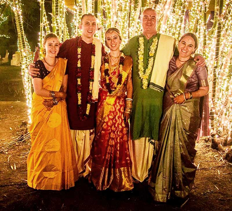 From right to left: Antardwip's wife-Mangala-gopi devi dasi, Antardwip das, eldest daughter Madhavi-lata devi dasi and her husband Sakhi Caran Ray das and youngest daughter Dulali Radha devi dasi.