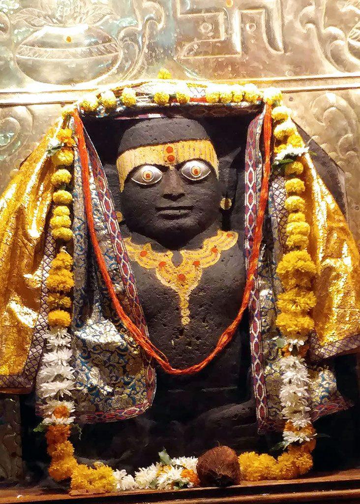 The awe-inspiring Yamaraja deity located on the holy Shipra River, Ujjain.
