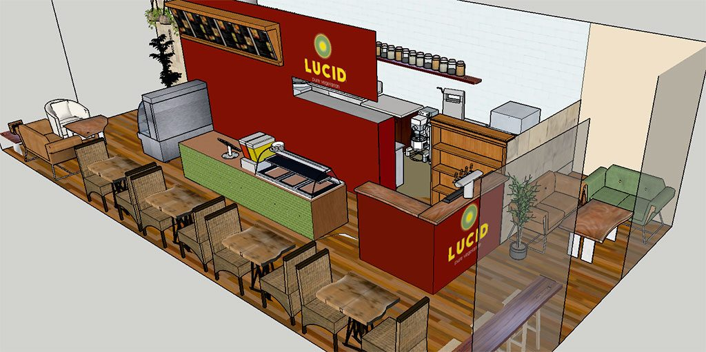 "A design drawing of the new vegetarian restaurant ""Lucid""."