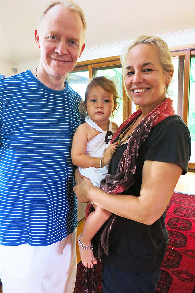 Damodara dasa and Radha Priya devi dasi with grand-daughter, Mirabhai.