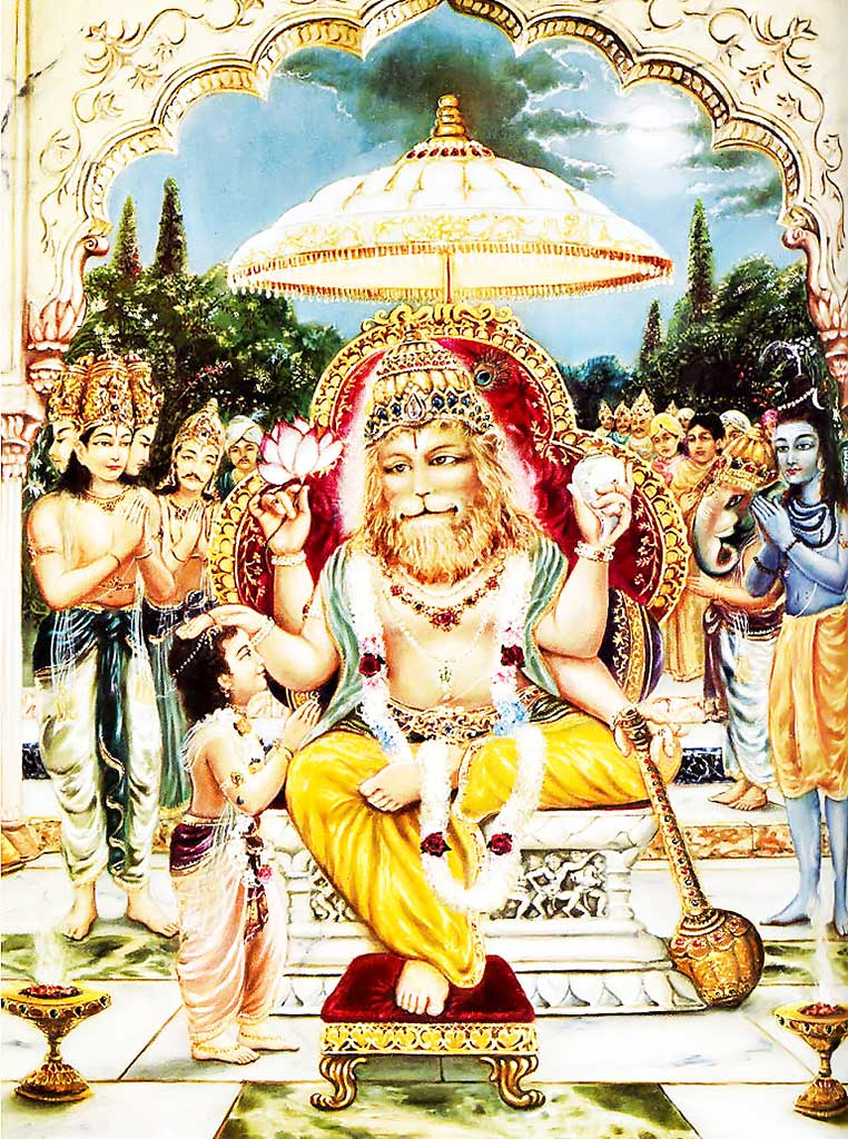 Prahlada Maharaja pacifies Lord Nrsimhadeva after the killing of the demon Hiranyakashipu.