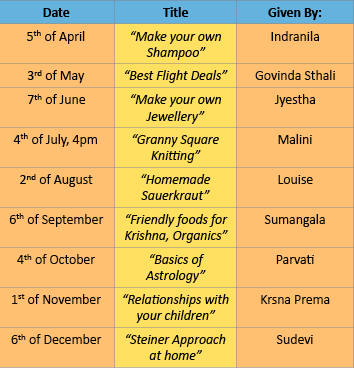 Bhaktivedanta Swami Gurukula workshop schedule. These workshops will be held after the P&C meetings.