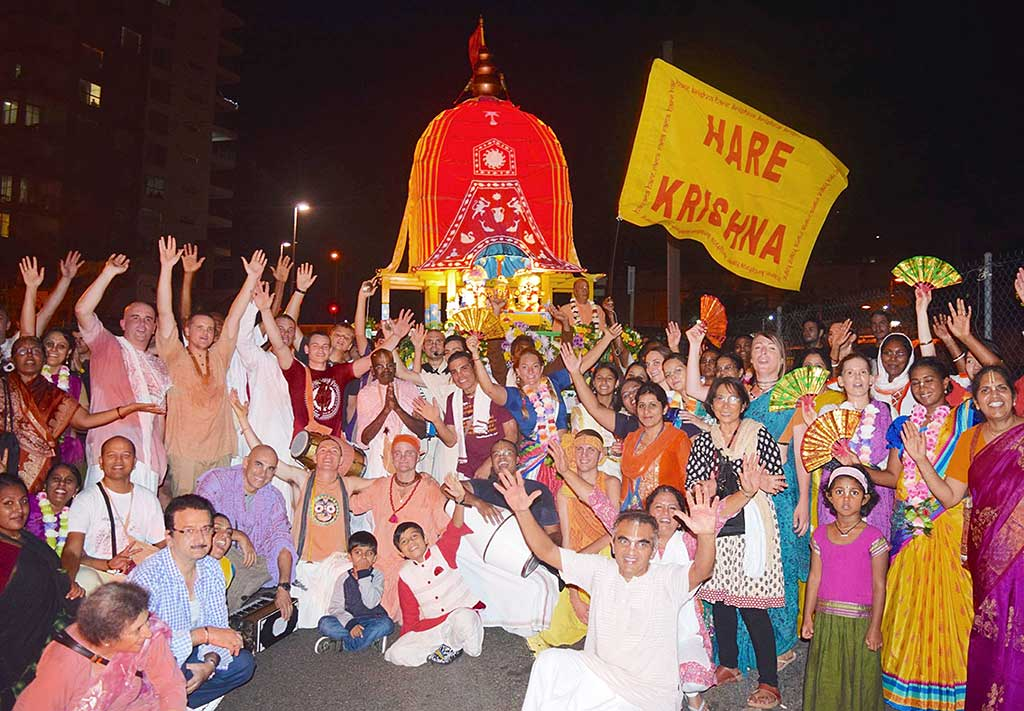 Devotees at the Ipswich Ratha-yatra, which concluded the Commonwealth Games harinamas.