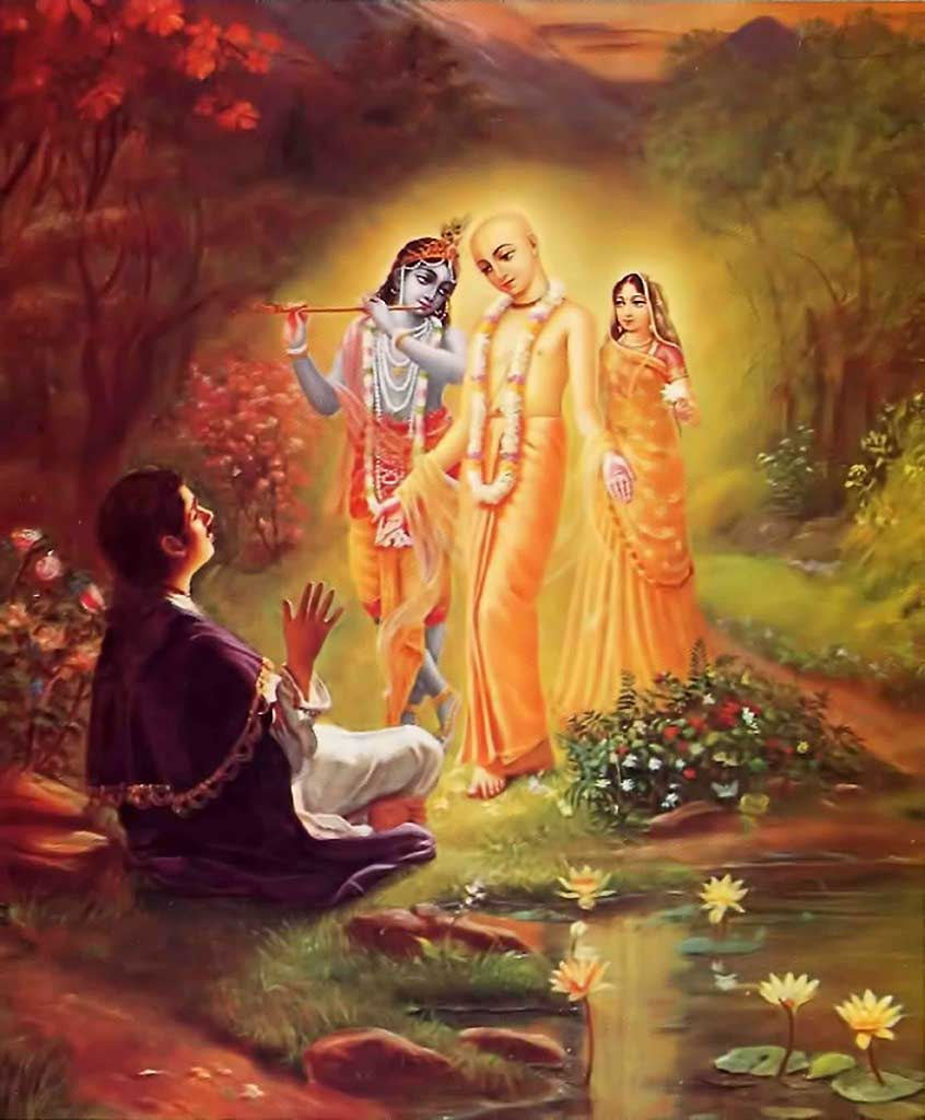 Lord Chaitanya reveals His divine form as Radha and Krishna to Ramananda Raya