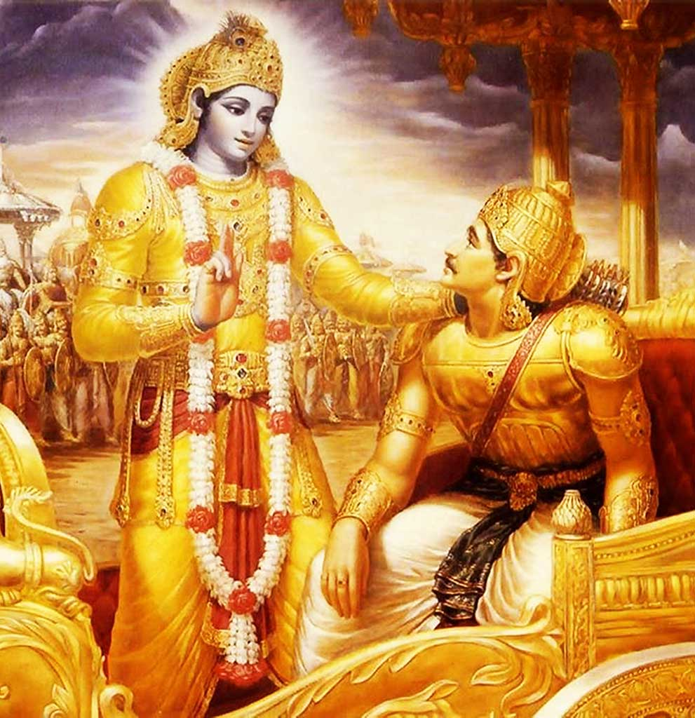 Arjuna receiving transcendental knowledge from Krishna on the battlefield of Kurukshetra.
