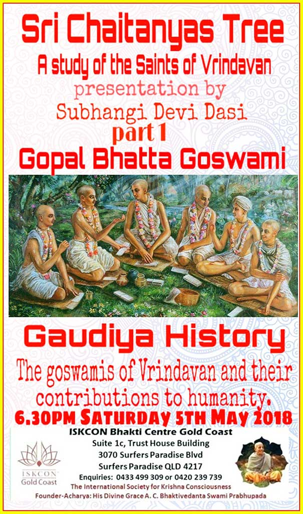 The first in a series of lectures on the Six Goswamis.