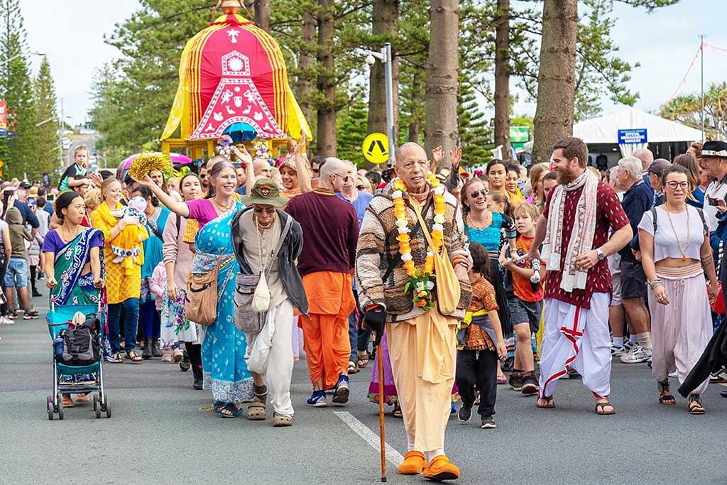 This year, His Holiness Mukunda Goswami Joined in the parade.