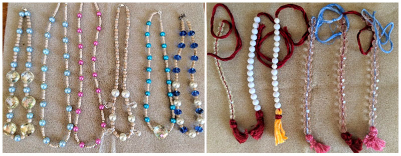 Some of the beautiful neckbeads and counter beads made with maha jewellery from the Deities at New Govardhana