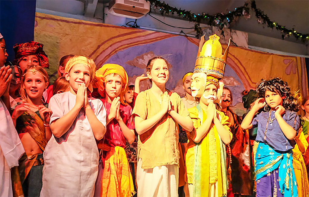 Bhaktivedanta Gurukula students presented a very polished and exciting play for the pleasure of Sri Sri Radha Govardhanadhari on Janmastami.