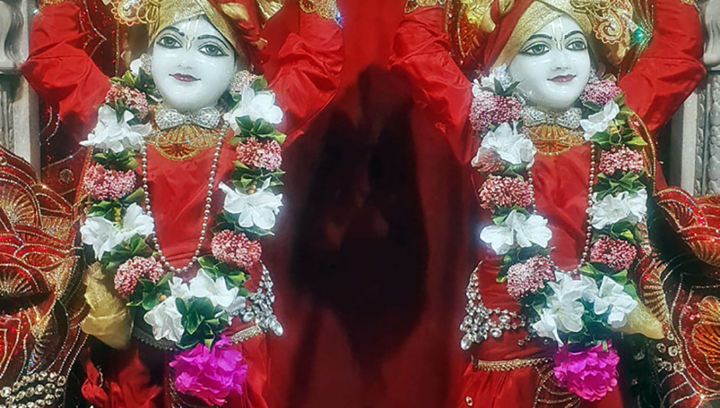 An example of beautiful winter garlands on Gaura Nitai at New Govardhana.
