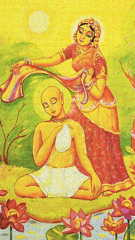 One day when Raghunatha Dasa Goswami was busy chanting his rounds in the hot summer afternoon, unbeknown to him, Srimati Radharani came to shade him with the end of her sari. Observing this sweet pastime, Sanatana Goswami later suggested to Raghunatha Dasa to construct a bhajana kutir at Radha Kunda so that Radharani did not have to appear again to serve him.