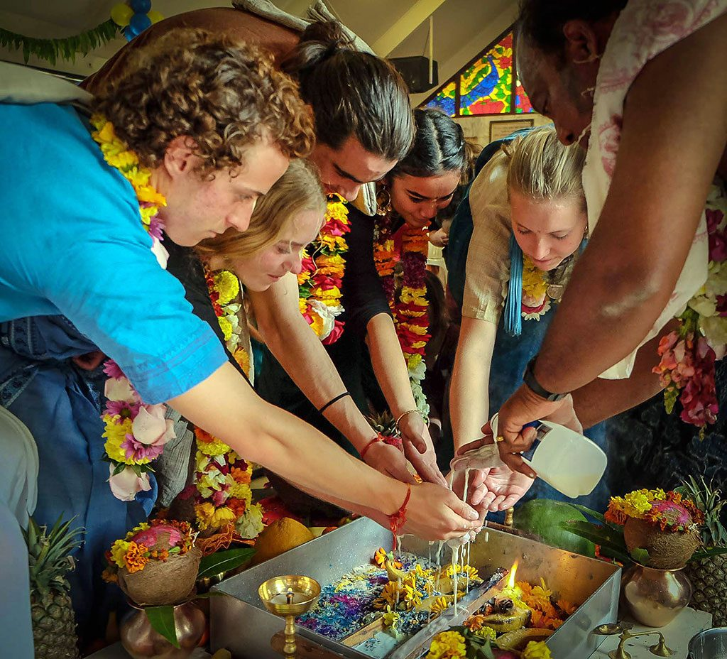 A rite of passage celebrated with a traditional Vedic fire sacrifice.