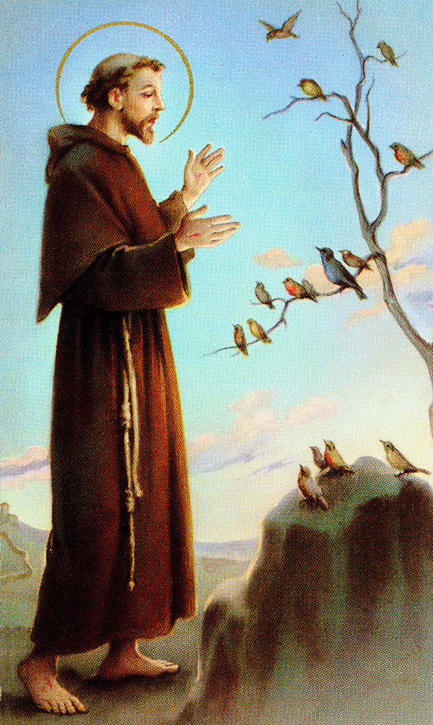 The 12th Century Saint Francis of Assisi preaching God-consciousness to the birds and other animals.