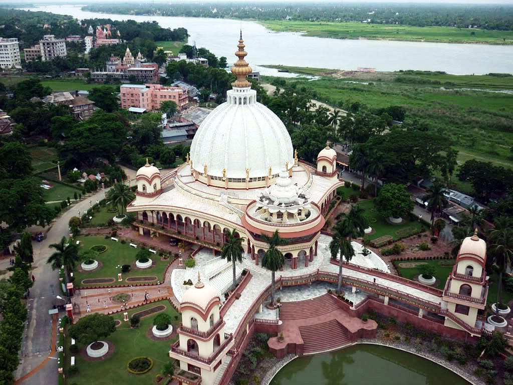 An aerial view of Srila Prabhupada's Samadhi Memorial in Sridham Mayapur, West Bengal, India