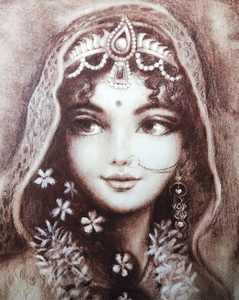 """Radharani's complete attachment to Krishna has blackened the borders of Her eyes..."" Teachings of Lord Caitanya, Ch.31."