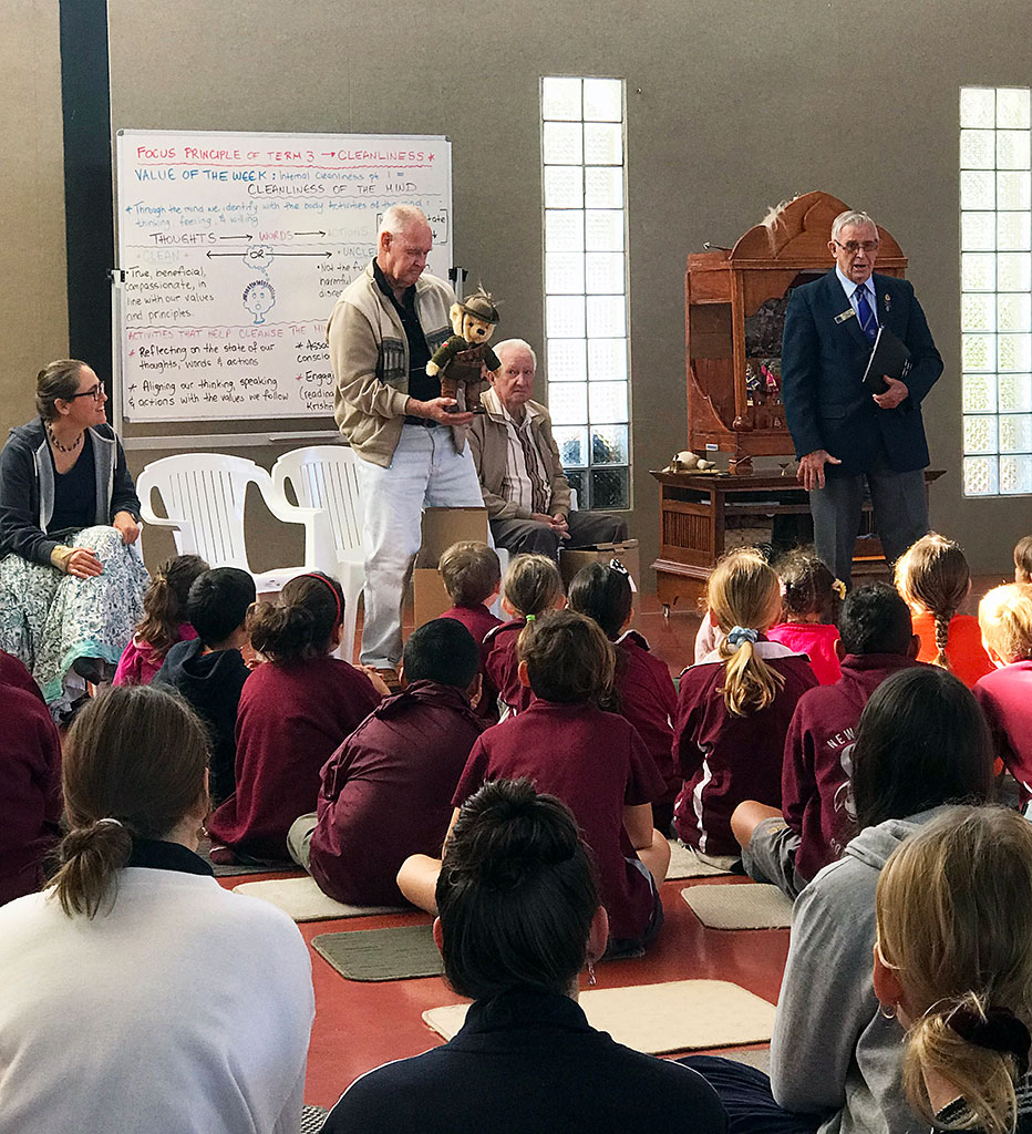 Kevin Cheetham (far right) with Arthur Weeks (standing with bear) and John Bruce (seated), after presenting the bears to the Bhaktivedanta Gurukula students at Assembly. Our guest had the opportunity to hear kirtana and take darshana of Sri Panchatattva and then receive prasadam. They were very impressed with the students.